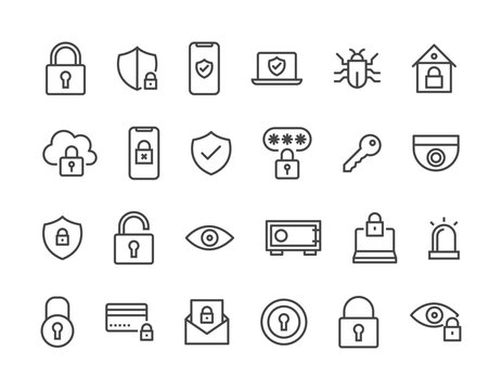 Set of Security Related Vector Line Icons. Editable Stroke. 48x48 Pixel Perfect.