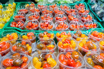 Cherry tomatoes in plastic. view from above