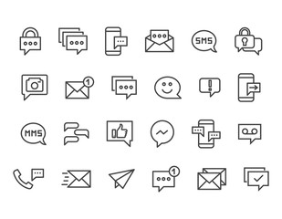 Set of Message Related Vector Line Icons. Contains such Icons as Conversation, SMS, Notification, Group Chat and more. Editable Stroke. 48x48 Pixel Perfect.