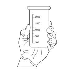 black outline hand holding beaker vector cartoon