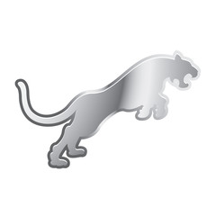 silver color leaping tiger vector icon