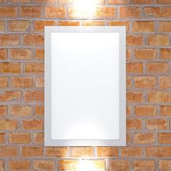 Quadro appeso ad un muro di mattoni, stanza. Decorare una parete. Arredamento di un locale. 3d rendering