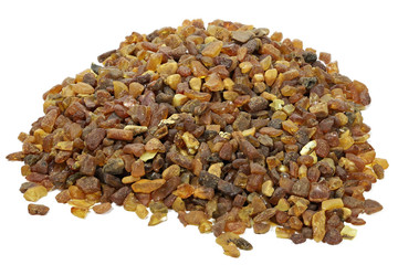 amber stones isolated on white background