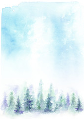 Watercolor abstract blue background with a forest landscape. Blue Firs