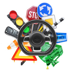 Driving school logo. 3d illustration