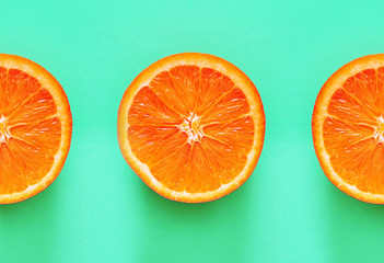 Orange. Fresh fruits on blue background