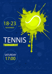 Sports design for tennis. Geometric background, polygon, grunge ball, hand drawing of textures, bright background. EPS file is layered.