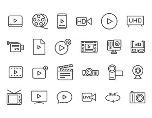 Set of Video Related Vector Line Icons. Contains such Icons as Video Tape, Presentation, Streaming. Editable Stroke. 48x48 Pixel Perfect
