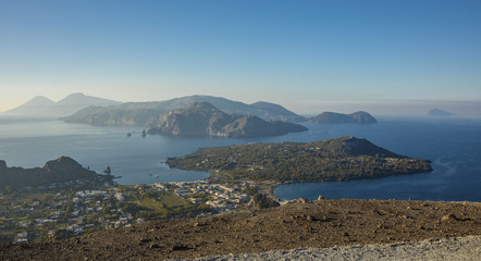 Panoramic view of Aeolian Islands