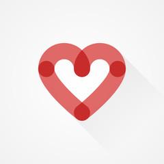 Heart icon. Love symbol. Flat design, vector illustration