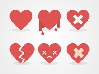 Broken hearts set. Flat design, vector illustration