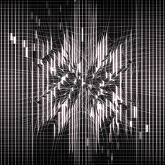 Black abstract background. Neural network, matrix. Glowing lines. Futuristic design. Perturbation of space. Mesh distortion. Explosion lights. Illustration