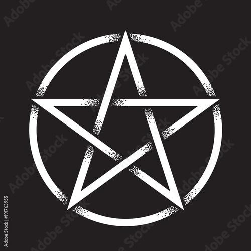 Pentagram Or Pentalpha Or Pentangle Hand Drawn Dot Work Ancient