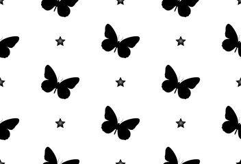 Seamless pattern with butterflies. Abstract background with butterflies. star, night