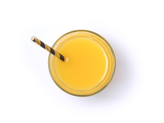 Orange juice glass with straw