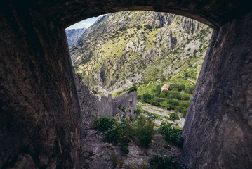 View through the walls of St John Fortess in Kotor town, Montenegro