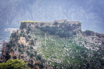 Foto auf Acrylglas Befestigung Ruins of ancient fortress on St John mountain in Kotor town, Montenegro