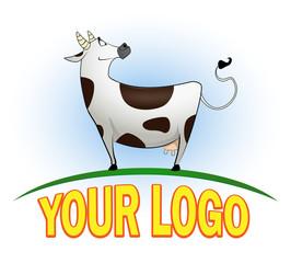 Happy cartoon cow in full height