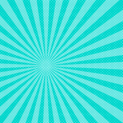 Blue pop art sunbeams background. Vector illustration.