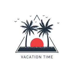 "Hand drawn travel badge with palm trees textured vector illustration and ""Vacation time"" inspirational lettering."