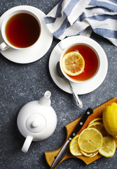 Cup of tea with lemon, top view