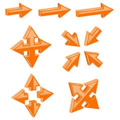Orange 3d combo arrows. Different directions