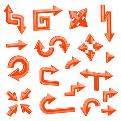 Orange 3d arrows. Set of different shiny web signs