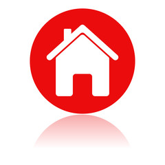 Home icon. Red round sign with a building