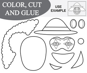 Color, cut and paste the image of face of clown. Game for children.