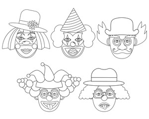 Clown's face colorless, set. Vector illustration.