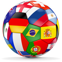 Fussball mit verschiedenen Ländern - soccer ball with different countries
