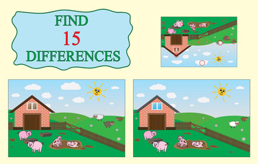 Find differences. Educational game for children. Farm, pigs, sheep. Vector illustration.