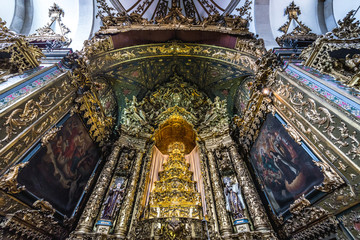 Carmelite Church altar with statues and paintings in Porto, Portugal