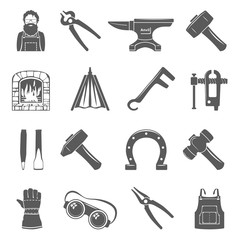 Black Icons - Blacksmith Tools And Equipment