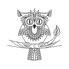 Isolated hand drawn black outline monochrome abstract ornate owl on white background. Ornament of curve lines. Page of coloring book. Front view of owl.