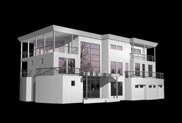 3D modern house isolated on black