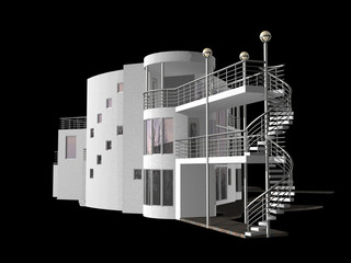 Contemporary 3D House isolated on black