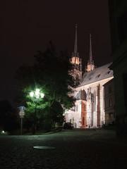 Church Petrov at night