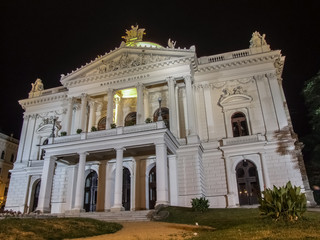 Mahenovo theater in Brno at night