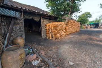 The old traditional charcoal factory from mangrove product.