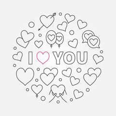 I love you vector round simple outline illustration