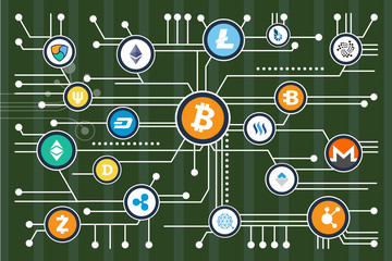 Cryptocurrency Mining Scheme with Colorful Icons