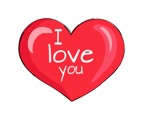 I Love You Inscription on Red Heart Shape Symbol