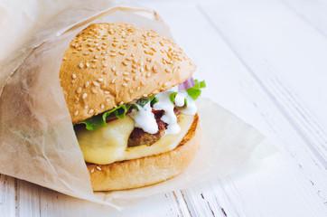 Traditional american cheeseburger