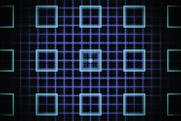 Abstract tech fractal with glowing cyan squares on a neon violet grid background