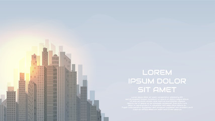 City landscape vector illustration. Web banner with Urban skyline. Background with buildings in flat style.