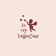 Cute St Valentine's Day gift card with a cupid