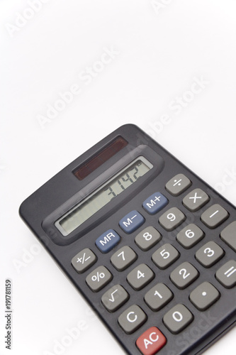 calculator on white background showing value of pi stock photo and