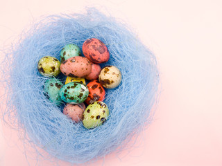 Quail easter color eggs in nest on pastel pink background. Close up.