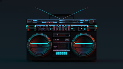 Boombox Moody 80s lighting 3d illustration